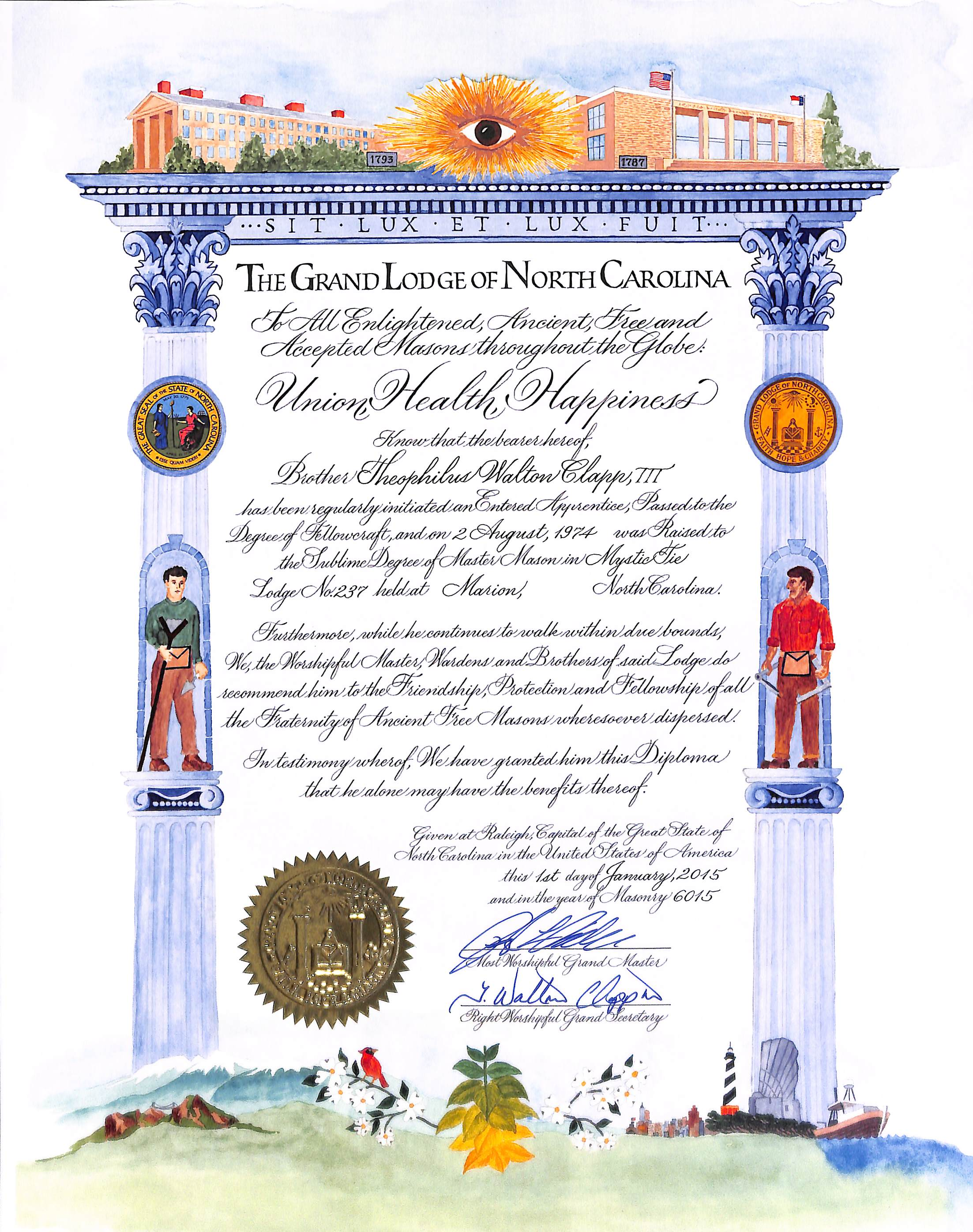 Grand lodge offers membership patents for master masons for Masonic certificate template